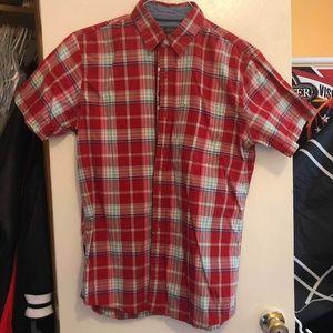 Arrow Short-sleeve Red Button Down Shirt